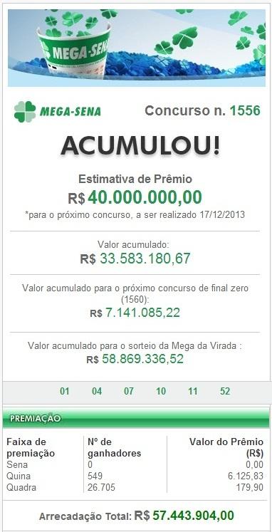 Mega Sena Concurso 1556 de 14/12/2013