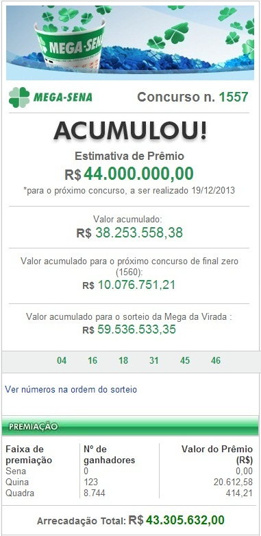 Resultado da Mega-Sena Concurso nº 1557 de 17/12/2013