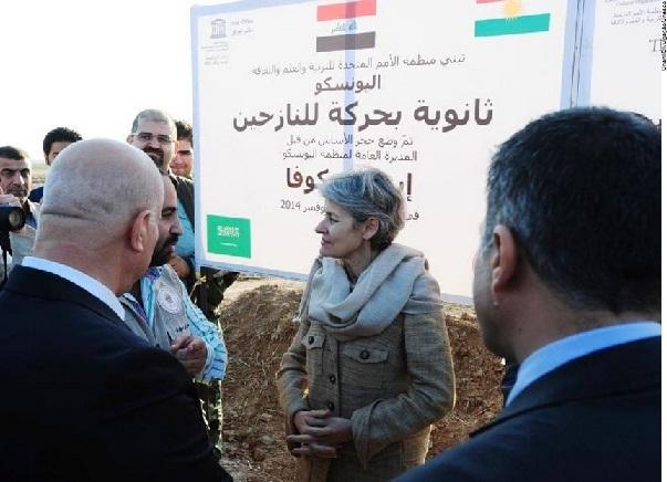 Irina Bokova no Kurdistão iraquiano, em novembro de 2014